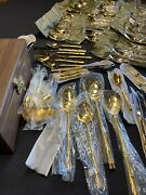 209 Pieces Towle Gold Bamboo By Supreme Cutlery Silverware With Box