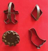 Antique Tin Cookie Cutters Duck Or Goose Gingerbread Man Diamond Star Hand Made