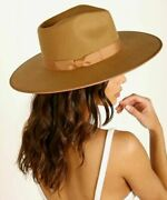 Anthropologie Lack Of Color Brown Rancher Wool Ribbon Hat Nwt