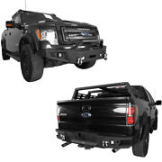 Fit 2009-2014 Ford F150 Front And Rear Bumpers Covers W/winch Plate Textured Steel