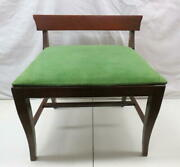 Antique Dixie Furniture Co Mahogany Vanity Bench Dressing Table Stool Green Cord