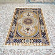 Yilong 4'x6' Handknotted Silk Carpet Classic Home Decor Yellow Area Rug Z469a