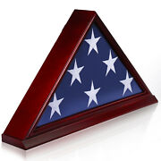 Anley Solid Wood Memorial Flag Display Case - Burial Flag Frame Veteran 5and039 X9.5and039