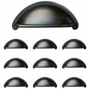 Oil Rubbed Bronze Kitchen Cabinet Pulls - 3 Inch Bin Cup Drawer Handles 10 Pack
