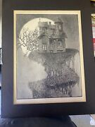 Very Rare Antique Haunted House On A Cliff Sketching/ Painting