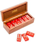 Double Six Professional Jumbo Size Dominoes Set In Wood Case With Magnetic Lock