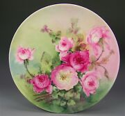 Limoges Hand Painted Peach Roses Charger Artist Signed