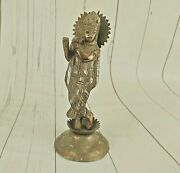 Old Vintage Beautiful Golden Polished Hindu God Krishna Aluminium Statue