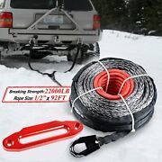 Black Synthetic Winch Rope 92ft 1/2 22000lbs + 10and039and039 Red Aluminum Hawse Fairlead