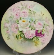 1908 Limoges Hand Painted Roses 14 Charger Artist Signed