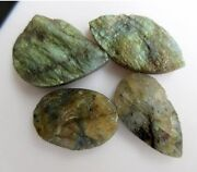 4 Pieces Huge 31mm-37mm Raw Rough Labradorite Mix Shaped Specially Jewelry Bb468