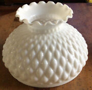 Vintage Quilted Milk Glass Oil Lamp Shade Aladdin 9.75andrdquo