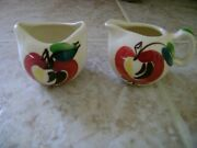 Purinton Pottery Slip Ware Apple Miniature Cream And Suger 2 Inch High
