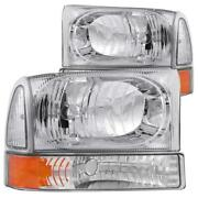 Anzo 2000-2004 Ford Excursion Crystal Headlights Chrome W/ Corner Lights 2pc