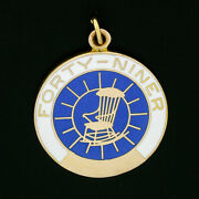 Vintage Collectible 14k Gold Enamel Ypo Forty Niner Round Charm Pendant