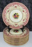 13 Royal Worcester R.h. Macy And Co. Bone China 10 1/2 Dinner Plates