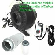 4 Variable Speed Control Inline Hydroponic Duct Fan Blower 190cfm Carbon Filter