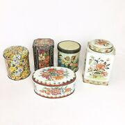 5 Vintage Metal Tin Containters With Lids Made In Brazil, W. Germany And England