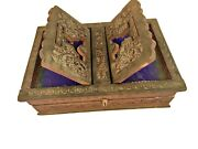 Old Holy Foldable Book Stand Wooden Handcarved Rehal Box For Quran,bible,gita