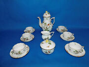 Herend Rothschild Tea Set For 6 Person With Round Pot Porcelain