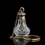 C.1880 French Miniature Crystal Scent Perfume Bottle Silver Gilt Top