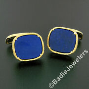 Menand039s Vintage 18k Yellow Gold Cushion Deep Blue Lapis Textured Finish Cuff Links