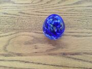 Wheaton Village Blue And White Glass Egg Shaped Paperweight 3andrdquo