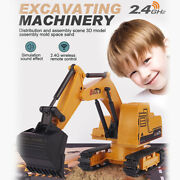 Kids 2.4g Rc Truck Car Toy Excavator Construction Digger Wireless Tractor Gift