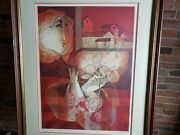 Sunol Alvar Women 2 Flowers Limited Edition Signed Lithograph Framed 28 X 34