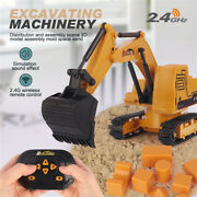 Kids 2.4g Rc Truck Car Toy Excavator Construction Digger Wireless Tractor Play