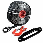 1/2 92ft Uhmwpe Synthetic Winch Rope 22000lb W/clevis Hook + 10 Hawse Fairlead