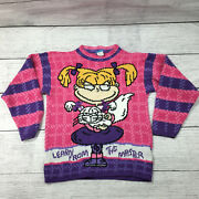 1998 Nickelodeon Rugrats Angelica Pink Knit Sweater Girls Vintage Sz S 7-8