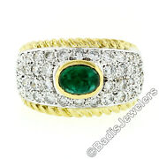 Estate 18k Gold 2.85ctw Fine Cabochon Green Emerald And Diamond Cocktail Band Ring