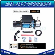 12v Electric Winch 13000lbs Recovery Off-road Atv Synthetic Rope With Remote