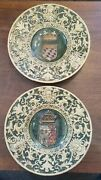 Vintage French Quimper Pottery - Set Of 2 Large Platters / Plates Very Old L@@k