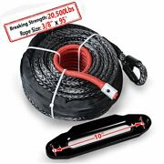 Black 95ft 3/8 Synthetic Winch Rope Recovery 20500lb Cable + 10 Hawse Fairlead