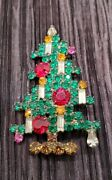 Vintage Rare Weiss Geometrical Crystal Christmas Tree Pin Green Red Yellow White