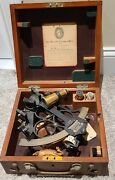 Vintage 1945 Wwii Heath And Co. Hezzanith Brass Nautical Marine Sextant With Case