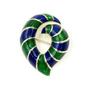 See Video Estate Green And Blue Enamel Brooch And Pin, 18k Yellow Gold 18.6g, 1x1.5