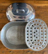 Vtg Magnalite 4267 Aluminum 18 5/8 Covered Oval Turkey Roaster Meat Rack And Lid