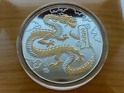 Mongolia Chinese Lunar Year Of The Dragon 5 Oz Silver Gilded Coin 2007 Year