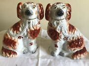 """Staffordshire Dogs """"gog"""" And """"magog"""" 19th Century Vintage Antiques 10"""""""
