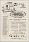 Vintage 1924 Chambers Gas Range Oven Stove Kitchen Appliance Print Ad