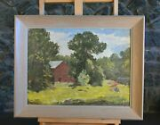 Vintage Impressionist Painting - Old Farmhouse In Hills Of Ohio - John King