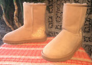 Womens Classic Short Uggs With Sparkle/glitter Heels Size 7 Taupe/tan/beige