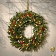 National Tree Company-24 Inch Frosted Berry Wreath With 50 Clear Lights
