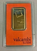 Valcambi Suisse 1 Oz Gold Bar .9999 Sealed With Assay Certificate 24 Karat