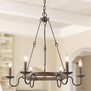 Rustic Farmhouse French Country Chandelier 6 Lights Wagon Wheel Hanging Island