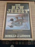 1986 New Jersey Waterfowl Stamp Poster Ronald J. Louque Framed