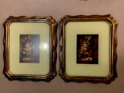 Vintage Lot Pair Matching Gold Framed Antiuqe Florals Turner Wall Unique Size